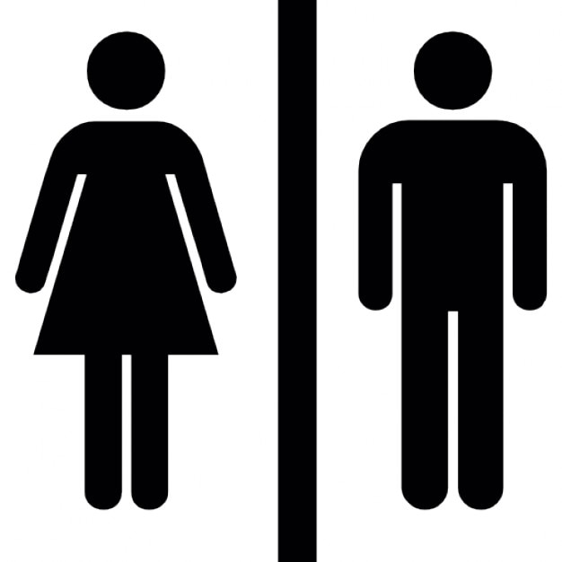 Female and male silhouettes with a vertical line in the middle Free Icon