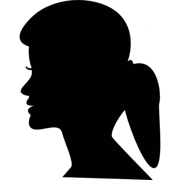 female head silhouette with ponytail free icon