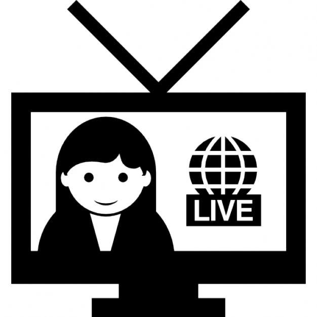 Female Journalist With Live News On Tv Free Icon