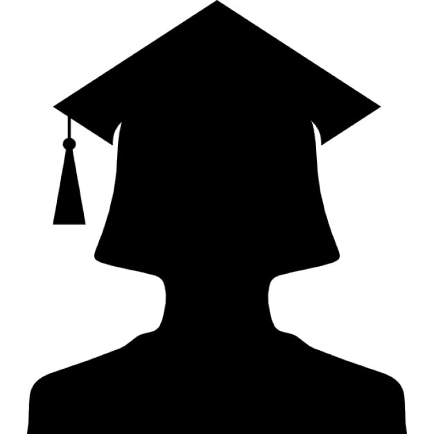 female university graduate silhouette with cap free icon