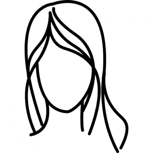 Female With Long Wavy Hair Outline Icons Free Download