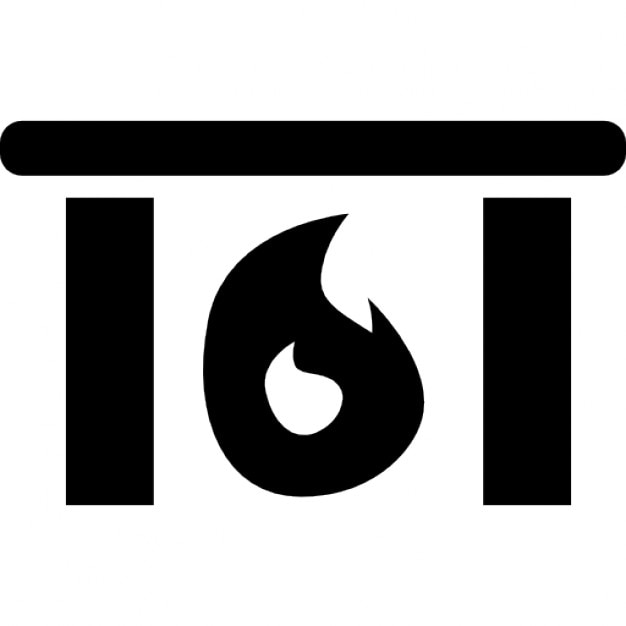 Fireplace with fire flames heating home Icons | Free Download