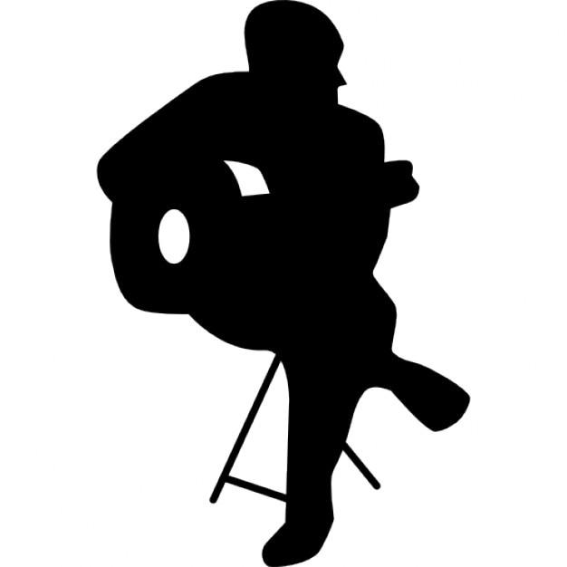 Flamenco guitar player sitting silhouette Icons | Free ...