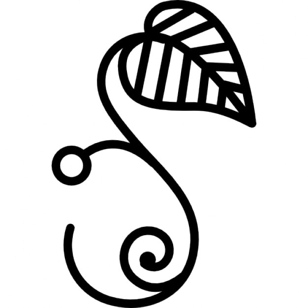 Curved Line Design : Floral design of one leaf on a curved line branch icons