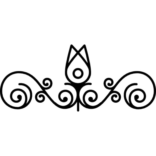 flower bud outline and vines design icons free download