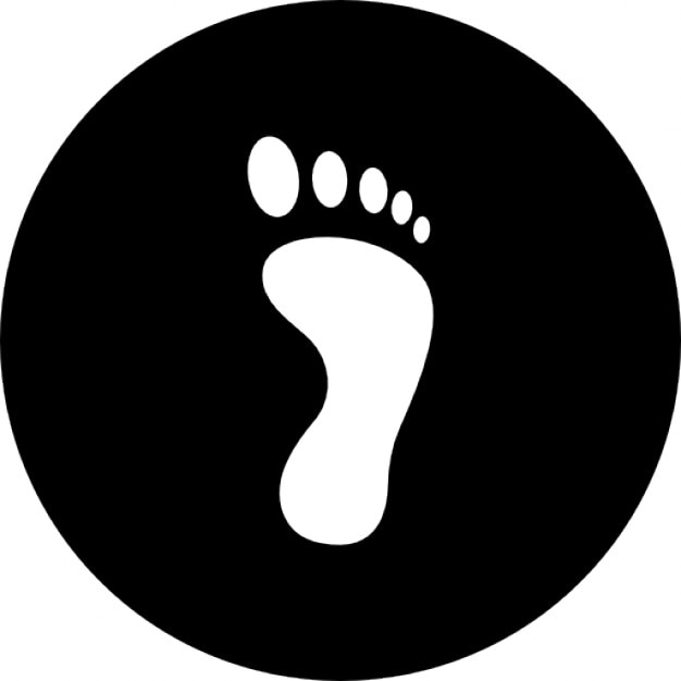 Footprint single on a black circular background Free Icon