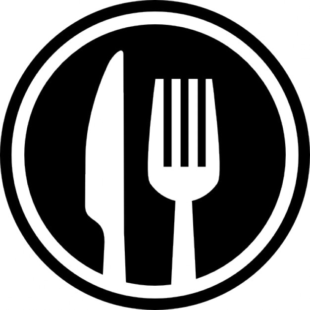 fork and knife cutlery circle interface symbol for restaurant