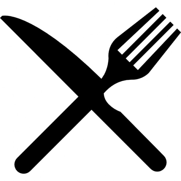 Fork And Knife In Cross Icons Free Download