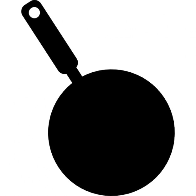 Frying pan silhouette from top view Icons | Free Download