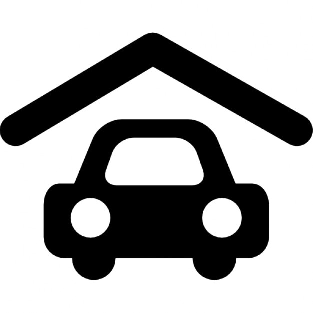 Garage With Roof And Parked Car Icons Free Download