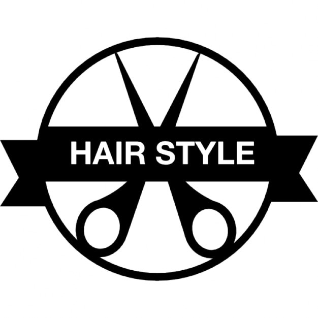Hair Style Icons : Hair style badge with a scissor and banner Icons Free Download