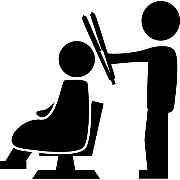 Hairdresser Standing With A Hair Straightener Behind The Client Sitting On Chair Free Icon