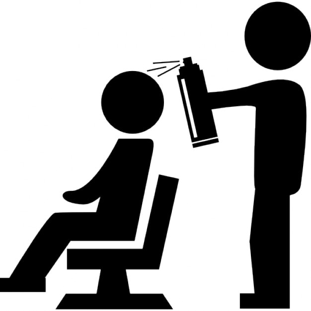 Hairdresser With Spray Bottle Behind The Client Of Hair Salon Icons