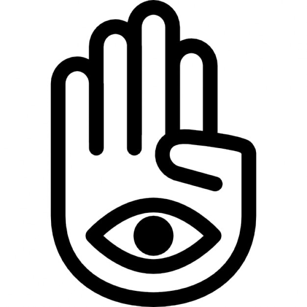 Hand Palm With One Eye In Mudra Posture Icons Free Download