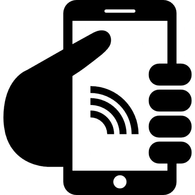 Hand With A Phone With Rss Feed Symbol On Screen Icons Free Download