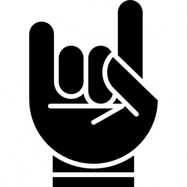 Hand With White Outline Forming A Rock On Symbol Icons Free Download