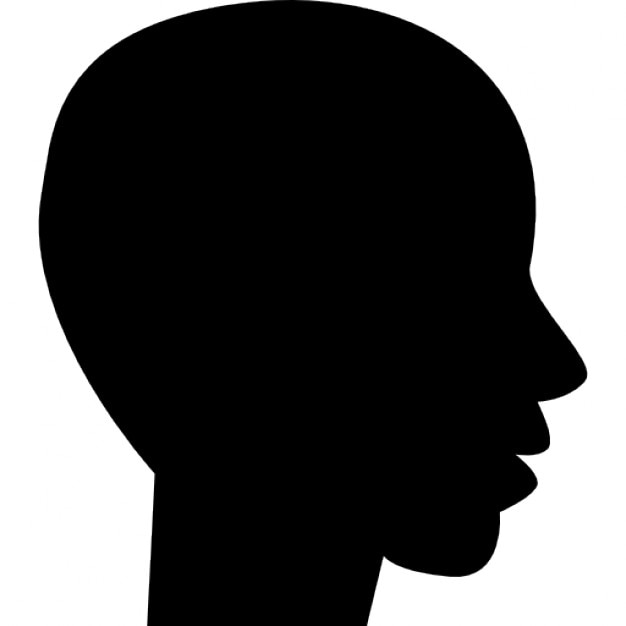 head side view black silhouette of male bald shape free icon