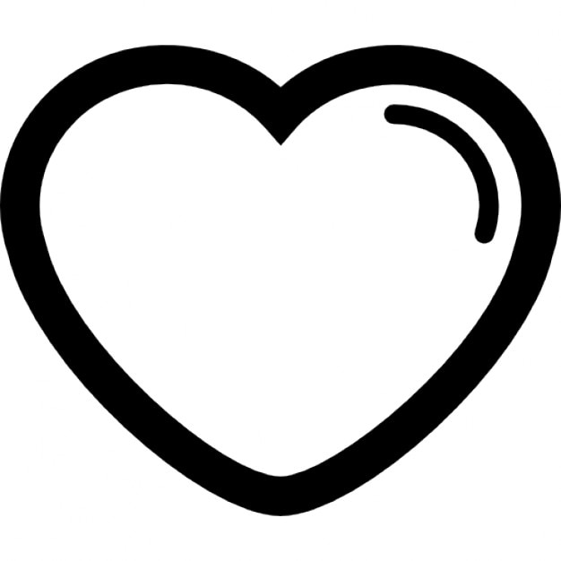 Heart Shape Outline With Lining At Right Edge Icons Free Download