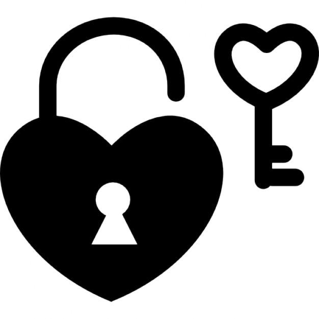 Heart Shaped Padlock And Key Icons Free Download