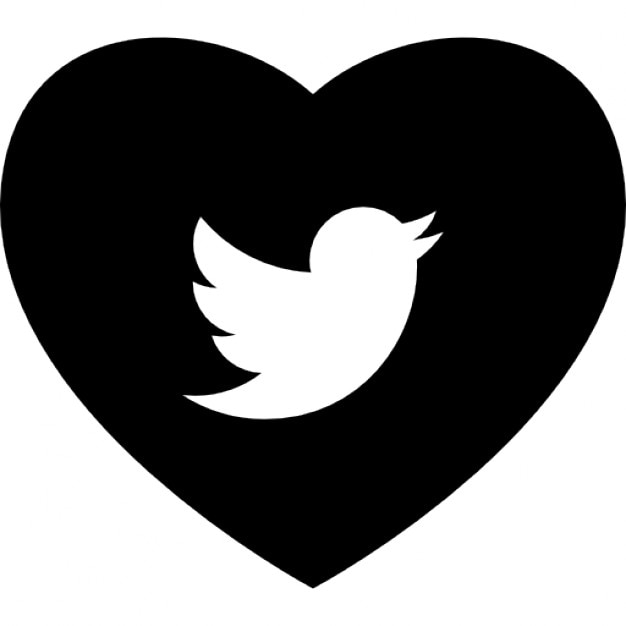 Heart With Social Media Logo Of Twitter Icons Free Download