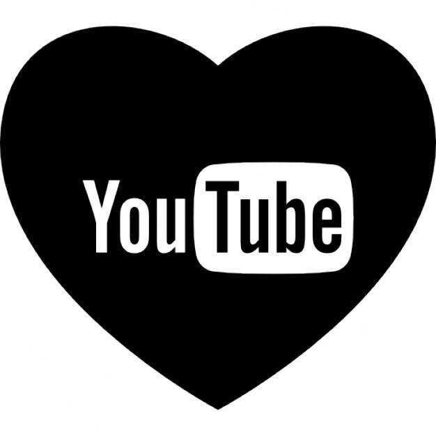 Heart With Social Media Logo Of Youtube Icons