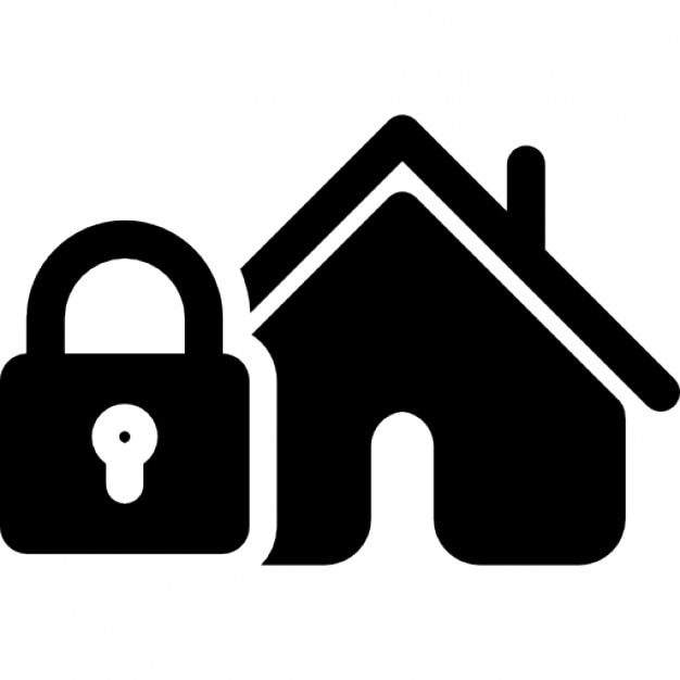 Security Hut Symbol: Home Pictogram With Locked Padlock Icons