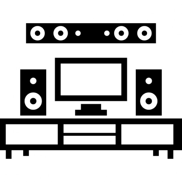 home theatre and monitor on livingroom furniture free icon