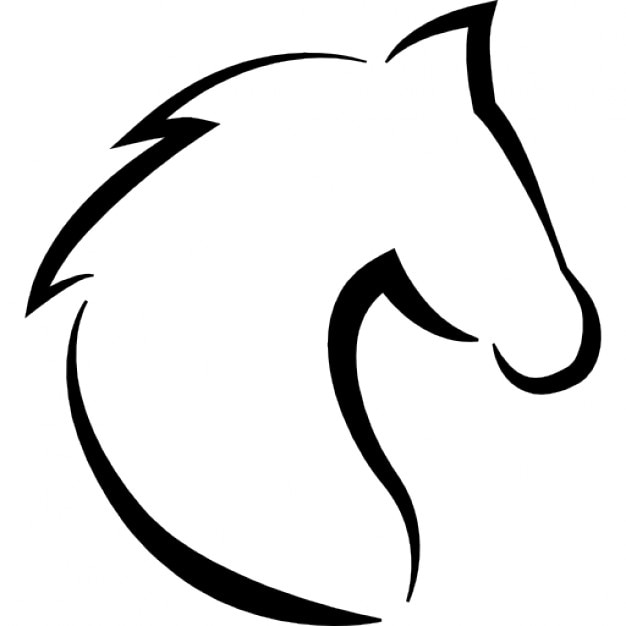 horse head with hair outline icons | free download