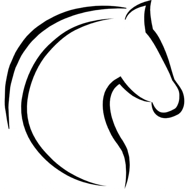 Horse Head With Hair Outline Icons Free Download