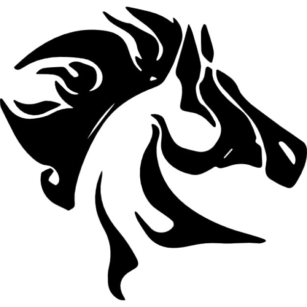 horse head with messy mane side view icons | free download