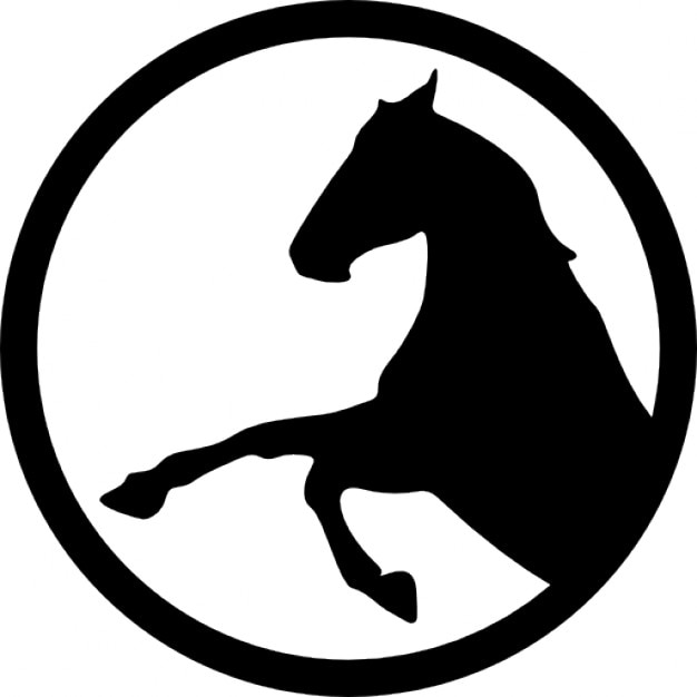 horse raising front feet inside a circle outline icons