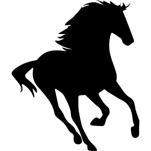 Horse running silhouette facing right Icons | Free Download