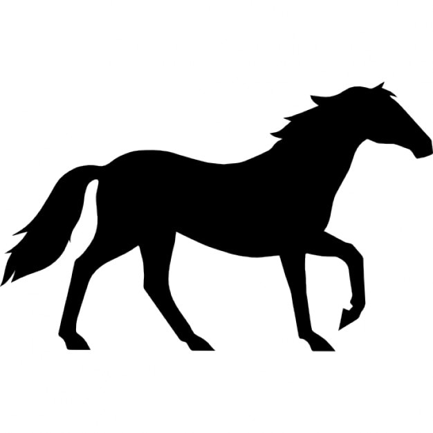 Horse walking elegant black side view silhouette Icons ...