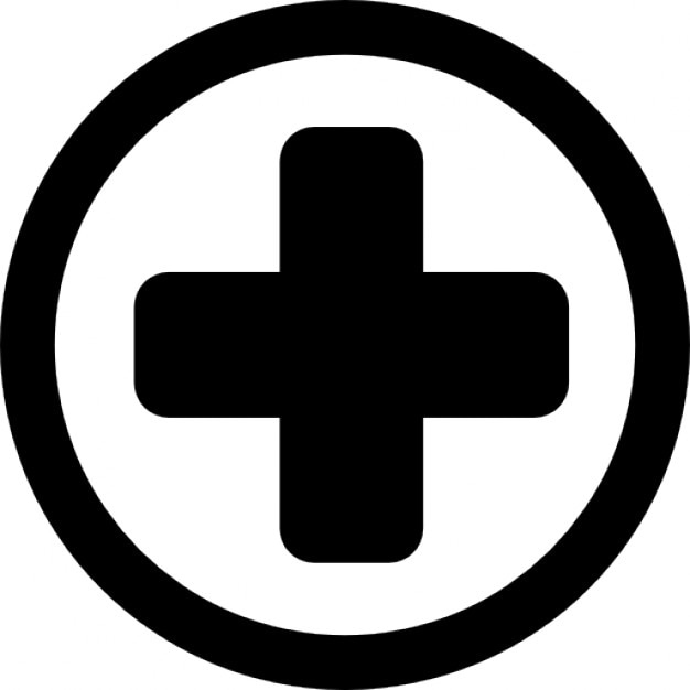 Hospital Medical Signal Of A Cross In A Circle Icons Free Download