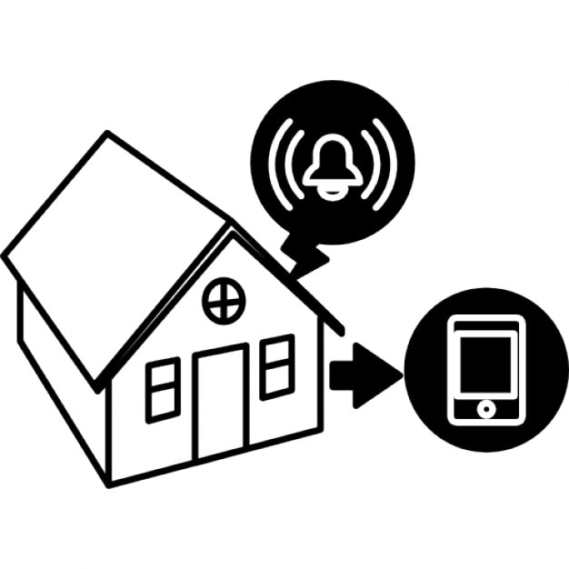 house protected by surveillance system with alarm connected to cellphone icons
