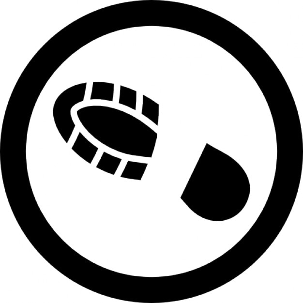human shoe footprint in a circle outline icons free download