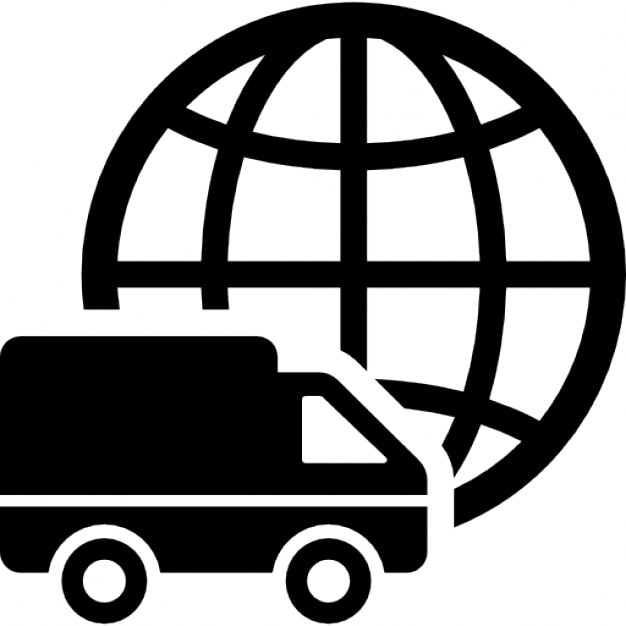 International logistics delivery truck symbol with world grid ...