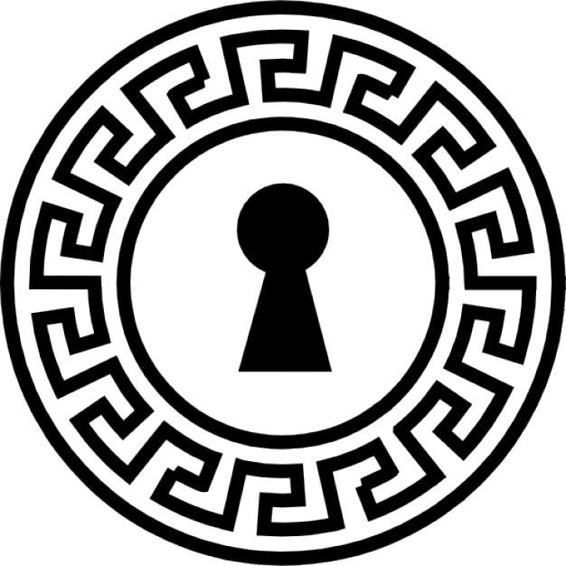 Keyhole Shape With Ornamented Circle Of Indian Design Icons Free