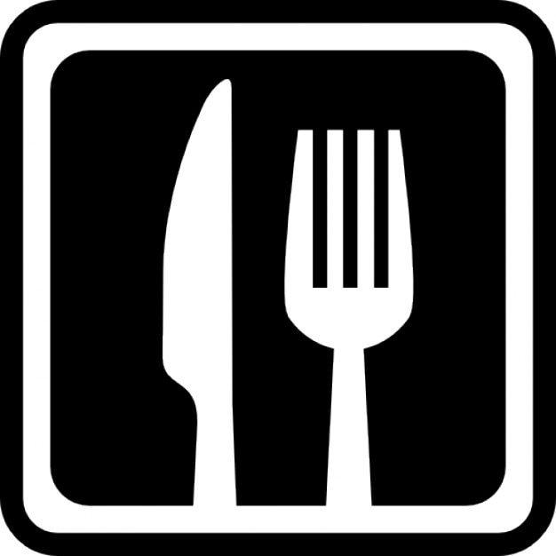 Knife And Fork In A Square For Interface Symbol For Restaurants