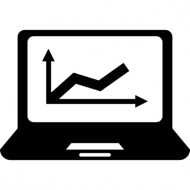 Laptop Computer Screen With Rising Line Graph Icons Free