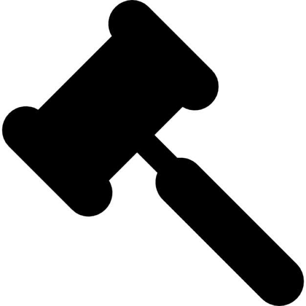 Legal hammer black shape Icons | Free Download