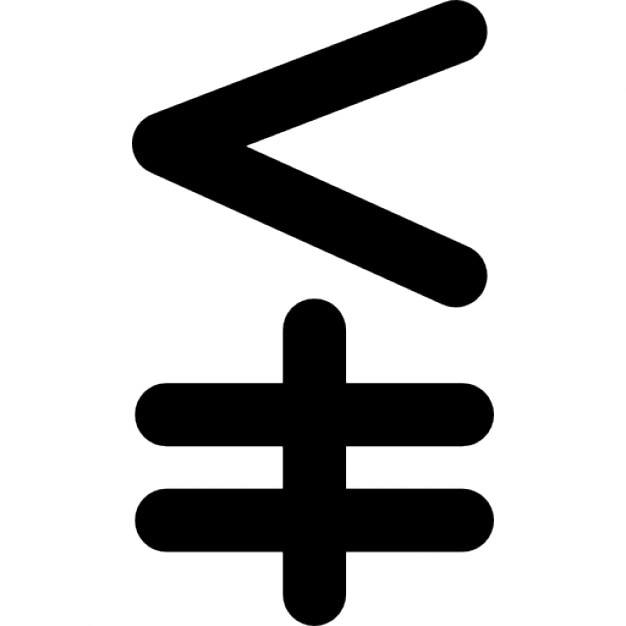 Less Vertical Not Equal Mathematical Symbol Icons Free Download