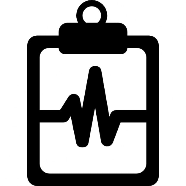 Lifeline Of Heartbeats On A Paper On A Clipboard Icons Free Download