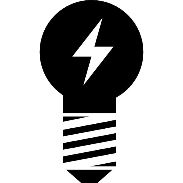 Lightbulb With A Bolt Icons Free Download