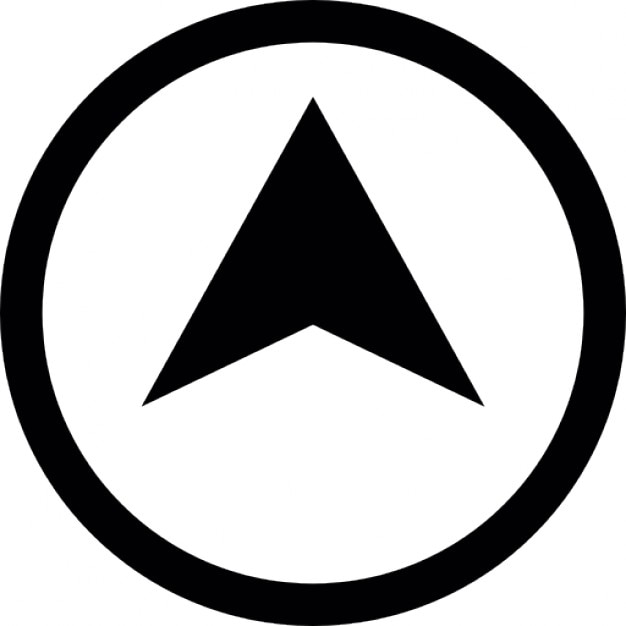 location symbol arrow point inside a circle outline icons free