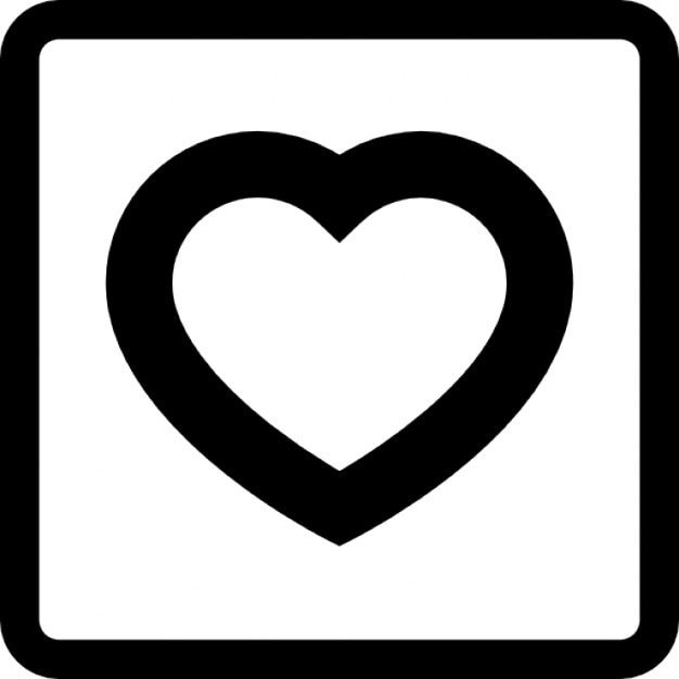 Love Symbol Of A Heart Outline In A Square Icons Free Download