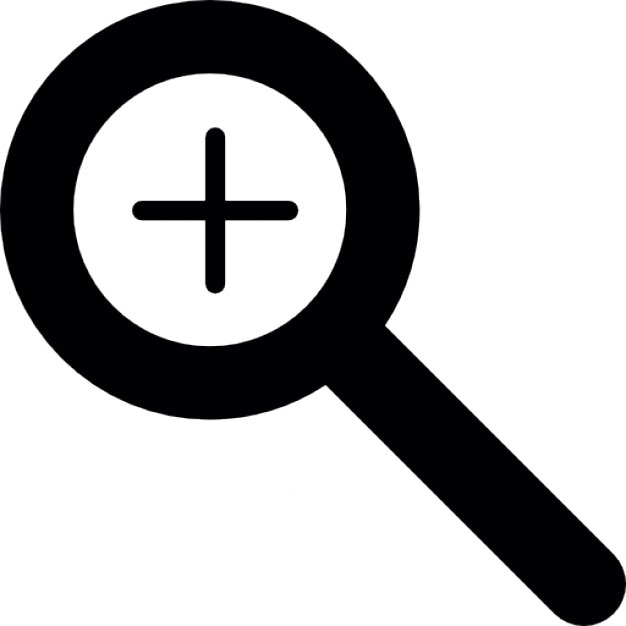 magnifying lens outline with plus sign icons free download