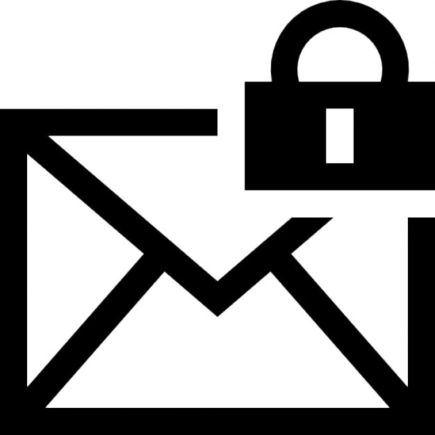 Mail Encryption Interface Symbol Of An Envelope Back With A Padlock