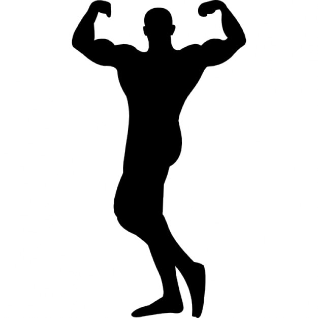 Male Bodybuilder Silhouette Flexing Muscles Free Icon