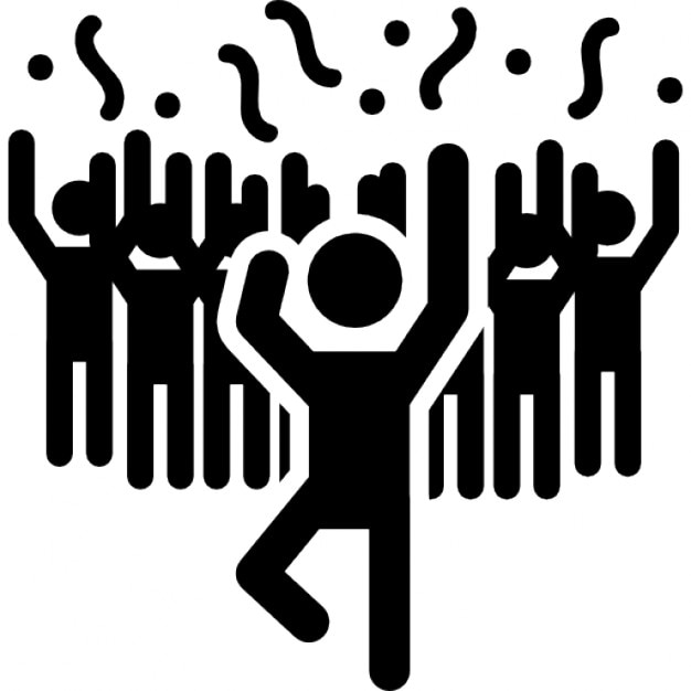 Man In A Party Dancing With People Icons Free Download